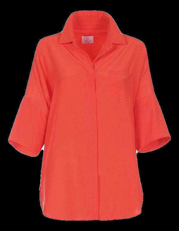 Blusenhemd aus Seide mit 3/4-Ärmeln