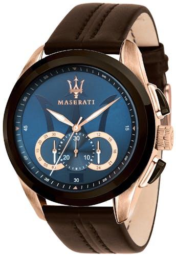 Cette montre MASERATI se compose d'un boîtier Rond de 45 mm et d'un bracelet en Cuir Marron