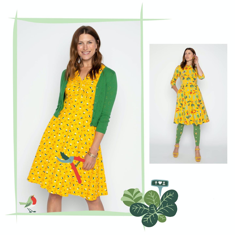 Weitschwingende Jerseykleider und schicke Kleider aus Biobaumwolle mit Vögeln und Gartenutensilien