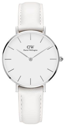 Cette montre DANIEL WELLINGTON se compose d'un boîtier Rond de 32 mm et d'un bracelet en Cuir Blanc