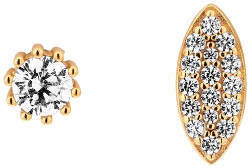 Ces Boucles d'oreilles Dépareillées CLEOR sont en Argent 925/1000 Jaune et Oxyde
