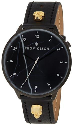 Montre THOM OLSON Mixte avec Boitier Rond 40 mm et Bracelet Cuir Noir
