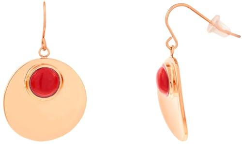 Ces Boucles d'oreilles MISSISSIPI sont en Acier Rose et Corail Rouge