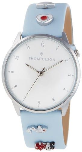 Cette montre THOM OLSON se compose d'un Boîtier Rond de 34 mm et d'un bracelet en Cuir Bleu