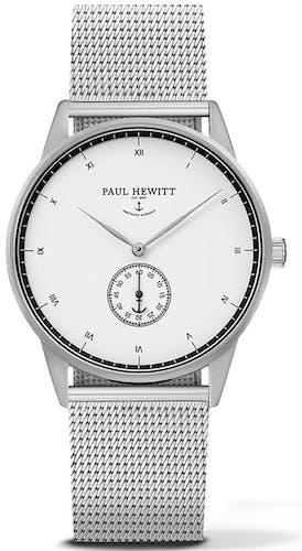 Cette montre PAUL HEWITT se compose d'un Boîtier Rond de 38 mm et d'un bracelet en Acier Gris
