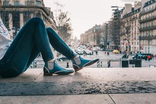 bottines bleu marine, chaussures bleues