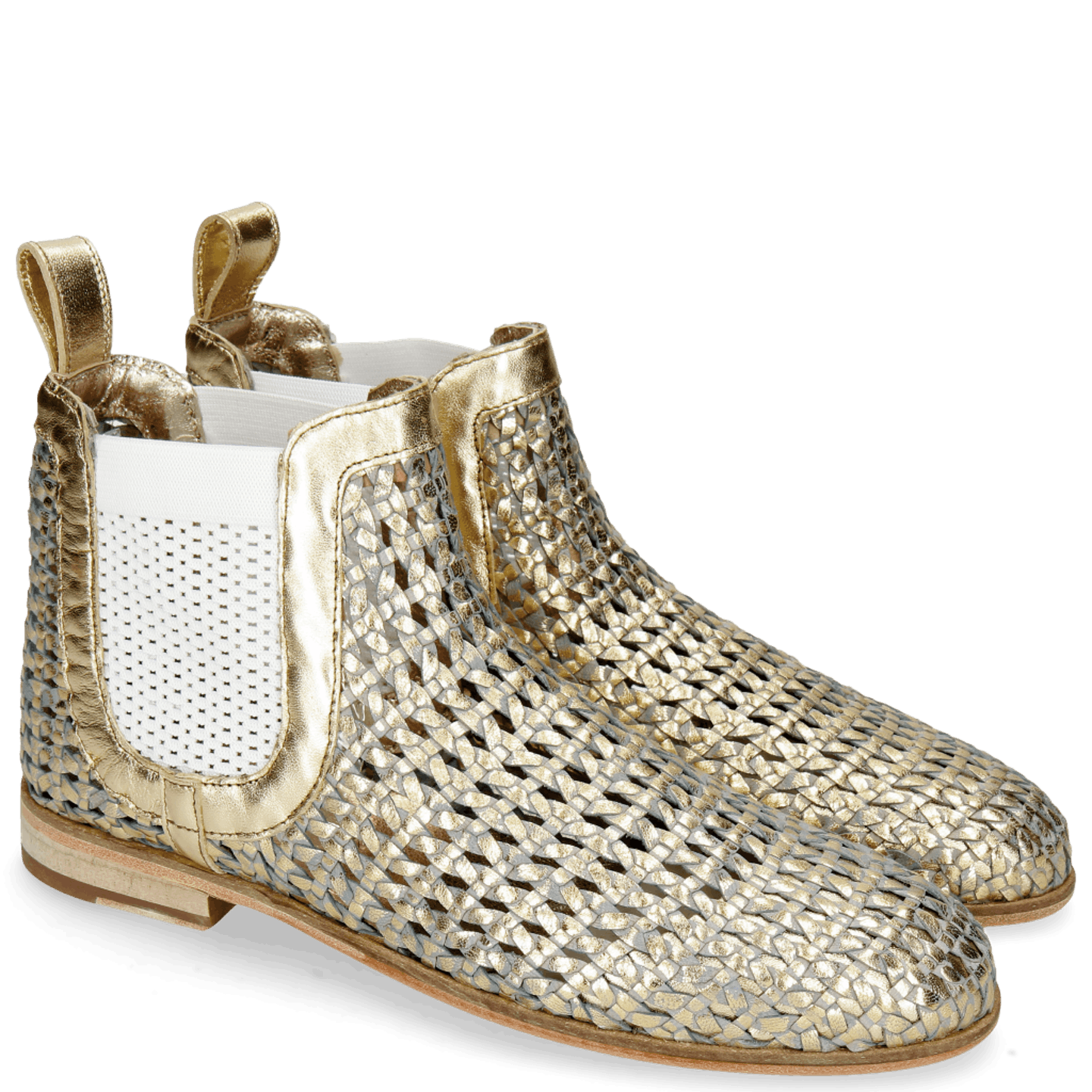 Susan 10 Woven Sky Gold Elastic White