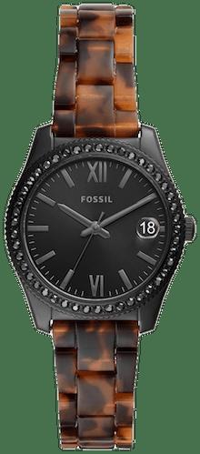 Cette montre FOSSIL se compose d'un boîtier Rond de 32 mm et d'un bracelet en Plastique Marron