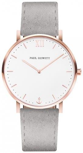 Cette montre PAUL HEWITT se compose d'un Boîtier Rond de 39 mm et d'un bracelet en Cuir Gris