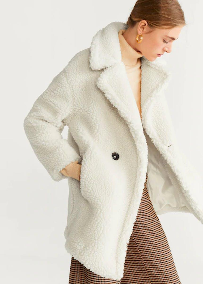 weißer Teddy-Mantel