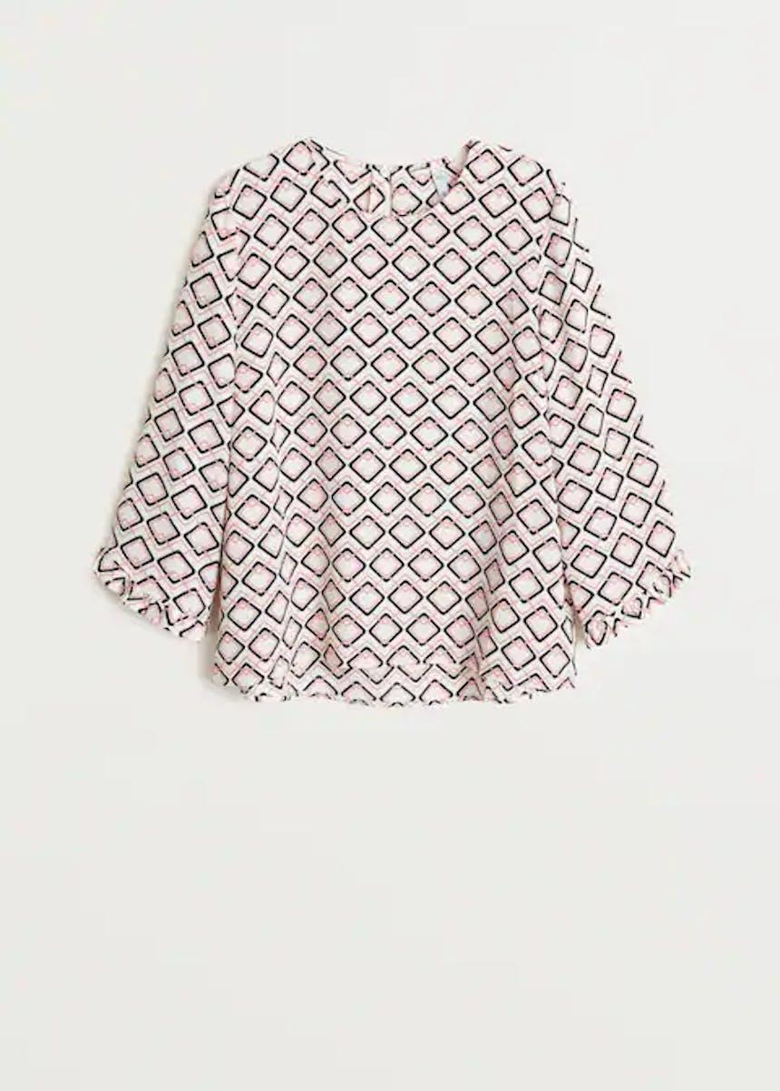 weiße Bluse mit geometrischem Muster