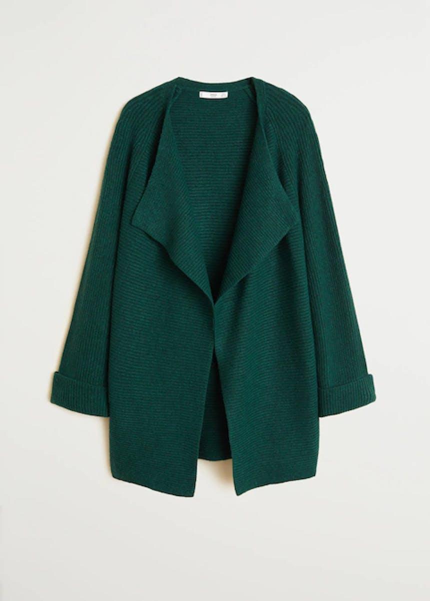 dunkelgrüner, langer Cardigan