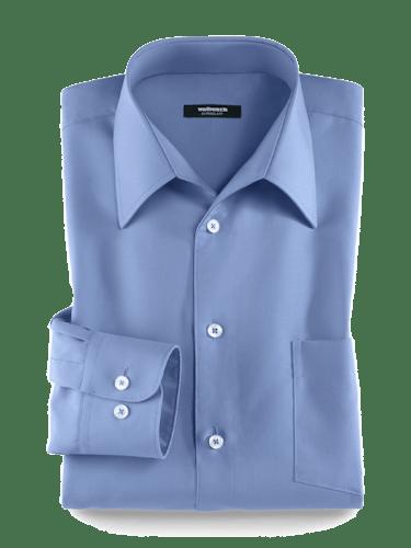 Blaues Hemd mit weißen Knöpfen, Brusttasche und Walbusch-Kragen.