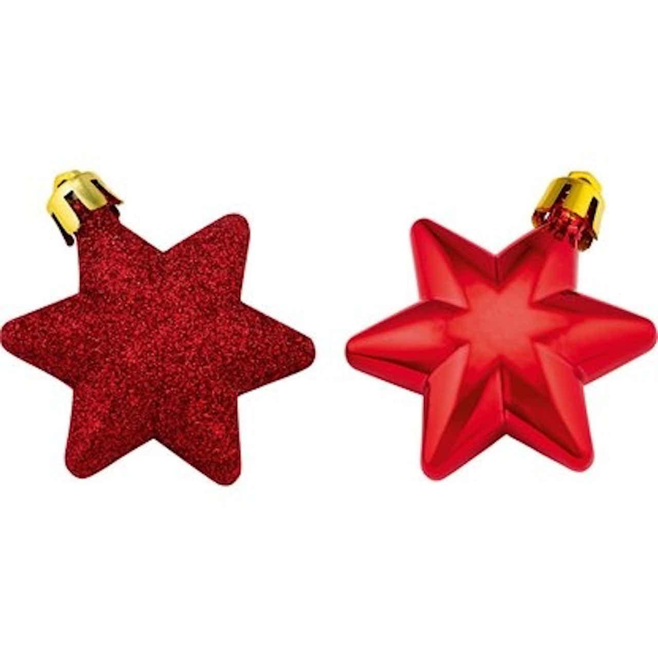 Sada ozdob na vánoční stromek hvězdy 12dílná červená