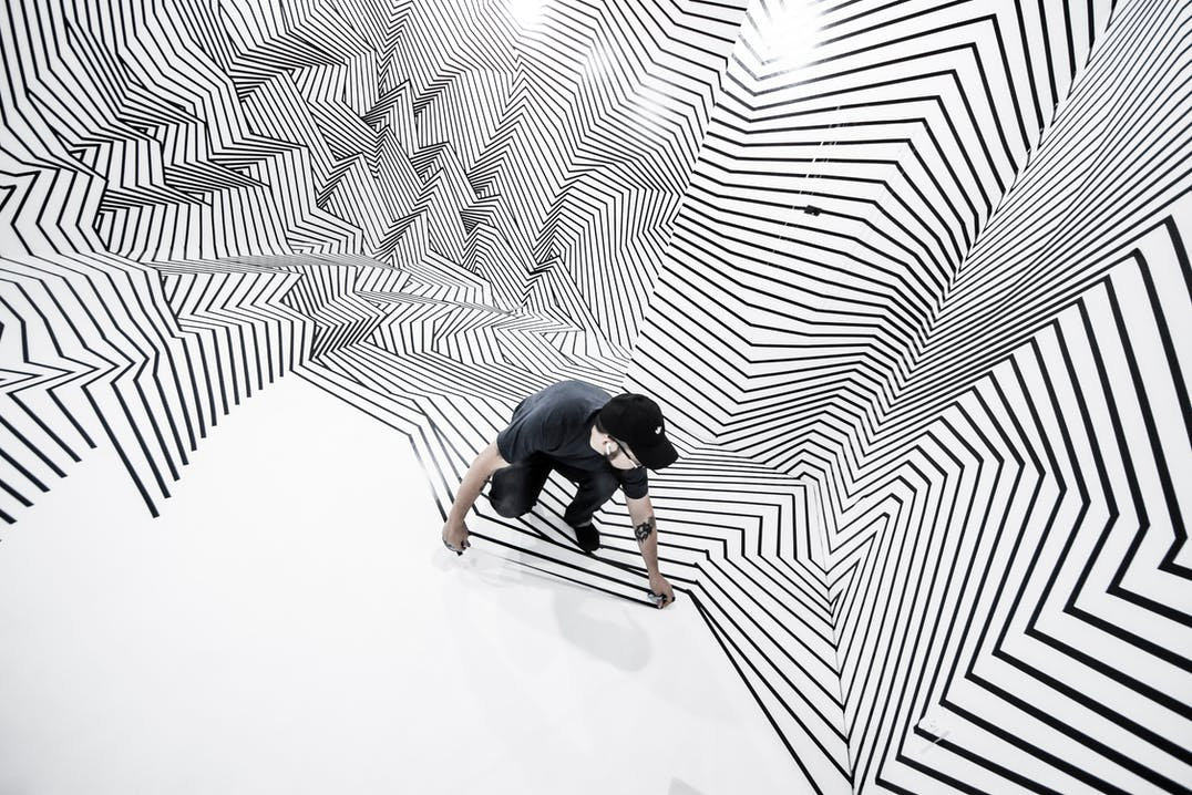Darel Carey, Dimensionalizing, Tape Art, Illusion