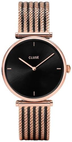 Cette montre CLUSE se compose d'un boîtier Rond de 33 mm et d'un bracelet en Maille milanaise Bicolore