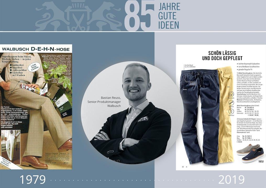Collage aus drei Bildern, auf zwei sind Hosen und auf dem dritten ein lächelnder Mann im Anzug.