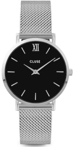 Cette montre CLUSE se compose d'un boîtier Rond de 33 mm et d'un bracelet en Maille milanaise Gris