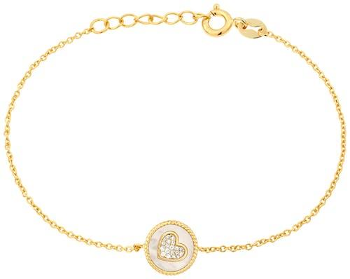 Ce Bracelet SOLIS est en Argent 925/1000 Jaune et Nacre Blanc en forme de Cœur