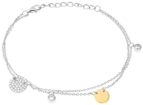 Ce Bracelet L'ADORÉE est en Argent 925/1000 Bicolore et Oxyde Blan