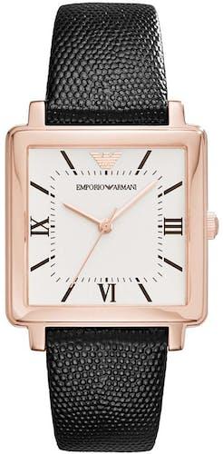Cette montre EMPORIO ARMANI se compose d'un Boîtier Carré de 30 mm et d'un bracelet en Cuir Noir
