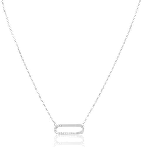 Ce Collier SQUARE est en Argent 925/1000 et Oxyde Blanc
