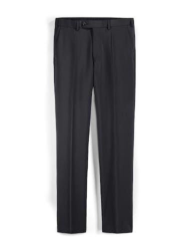Schwarze Anzughose mit Bundfalten.