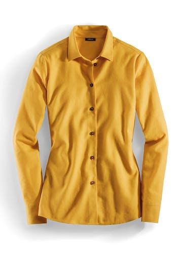 Bluse in Gelb mit Knopfleiste.