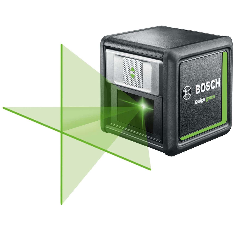 Bosch Quigo Green kereszt- és egyenes vonalas szintezőlézer rögzítéssel