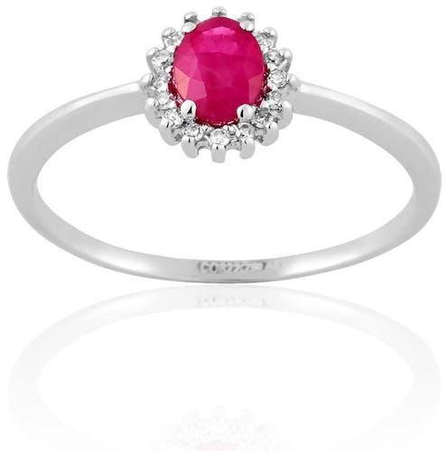 Bague CLEOR en Or 750/1000 Blanc, Rubis Rouge et Diamant