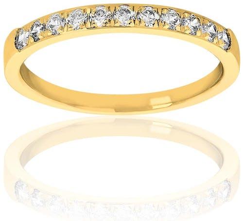 Cette Alliance PROMESSE est en Or 750/1000 Jaune et Diamant Blanc