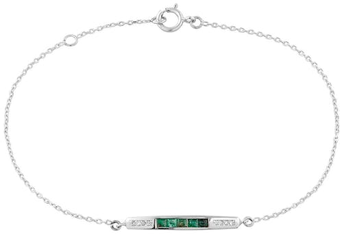 Ce Bracelet LES PETITES MERVEILLES est en Or 750/1000 Blanc, Emeraude Verte et Diamant