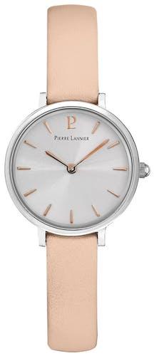 Cette montre PIERRE LANNIER se compose d'un boîtier Rond de 26 mm et d'un bracelet en Cuir Rose