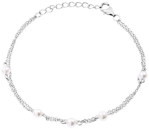 Bracelet CLEOR en Argent 925/1000 Blanc et Perle Blanche