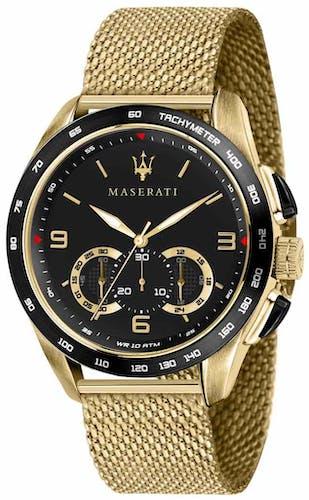 Cette Montre pour Homme MASERATI se compose d'un Boîtier Rond de 45 mm et d'un Bracelet en Acier Jaune