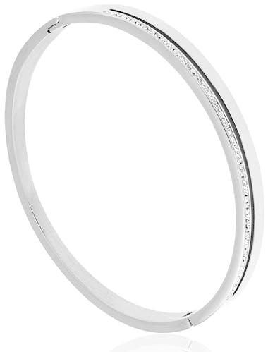 Ce Bracelet LES ETINCELANTES est en Acier Blanc et Cristal Blanc