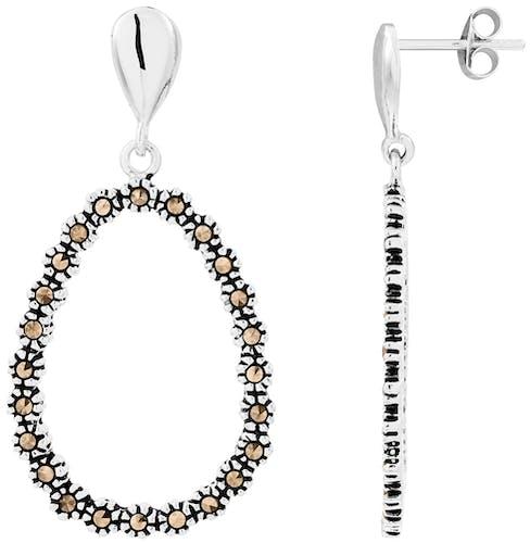 Ces Boucles d'oreilles CLEOR sont en Argent 925/1000 Blanc et Marcassite Noir