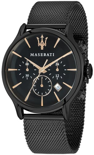 Cette montre MASERATI se compose d'un boîtier Rond de 42 mm et d'un bracelet en Métal Noir