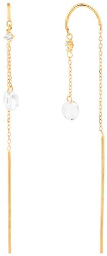 Ces Boucles d'oreilles CLEOR sont en Or 375/1000 Jaune et Topaze Blanc  -