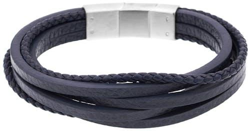 Bracelet ZEPHYR en Acier et Cuir Bleu
