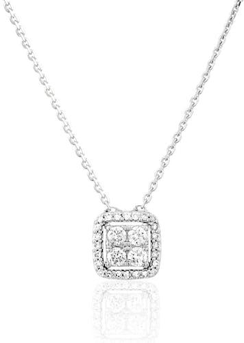 Ce Collier CLEOR est en Or 375/1000 Blanc et Diamant Blanc