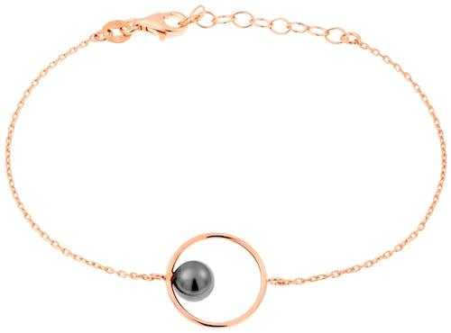Ce Bracelet PERLE DE NUIT est en Argent 925/1000 Rose et Perle Synthétique Blanc