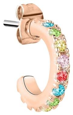 Cette Boucle d'oreille LA PETITE STORY est en Laiton Rose et Oxyde Multicolore