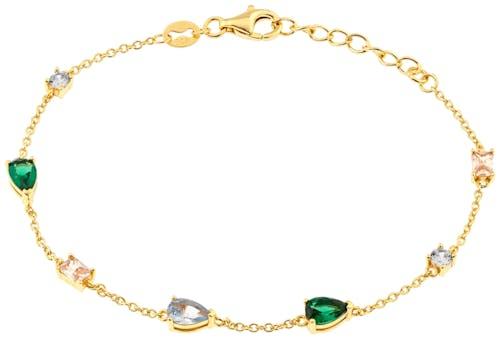 Ce Bracelet CLEOR est en Argent 925/1000 Jaune et Oxyde Multicolore