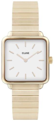 Cette montre CLUSE se compose d'un boîtier Carré de 28.5 mm et d'un bracelet en Acier Doré