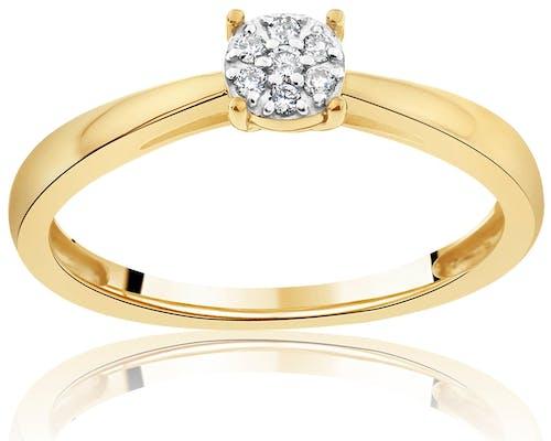 Solitaire CLEOR en Or 375/1000 Jaune et Diamant