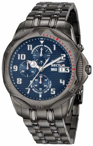 Cette montre SECTOR se compose d'un boîtier Rond de 44 mm et d'un bracelet en Acier Gris