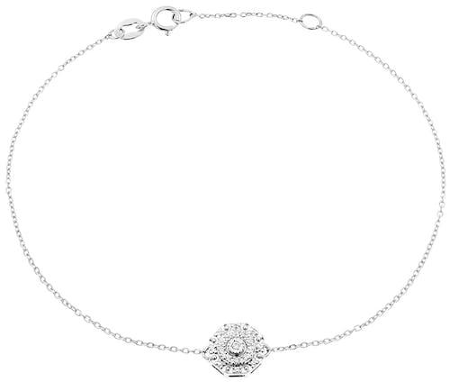 Bracelet CLEOR en Or 375/1000 Blanc et Diamant