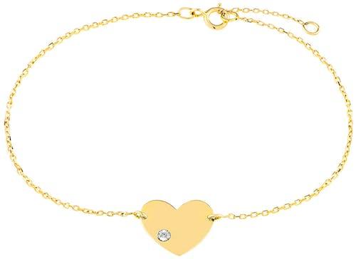 Ce Bracelet CLEOR est en Or 375/1000 Jaune et Diamant Blanc en forme de Cœu