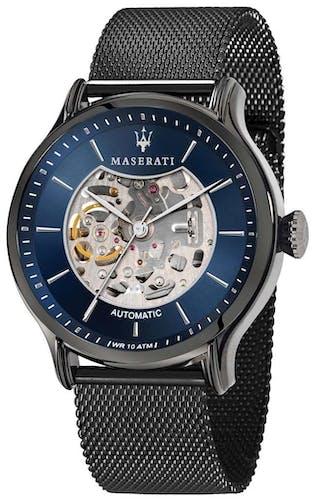 Cette montre MASERATI se compose d'un boîtier Rond de 42 mm et d'un bracelet en Acier Noir